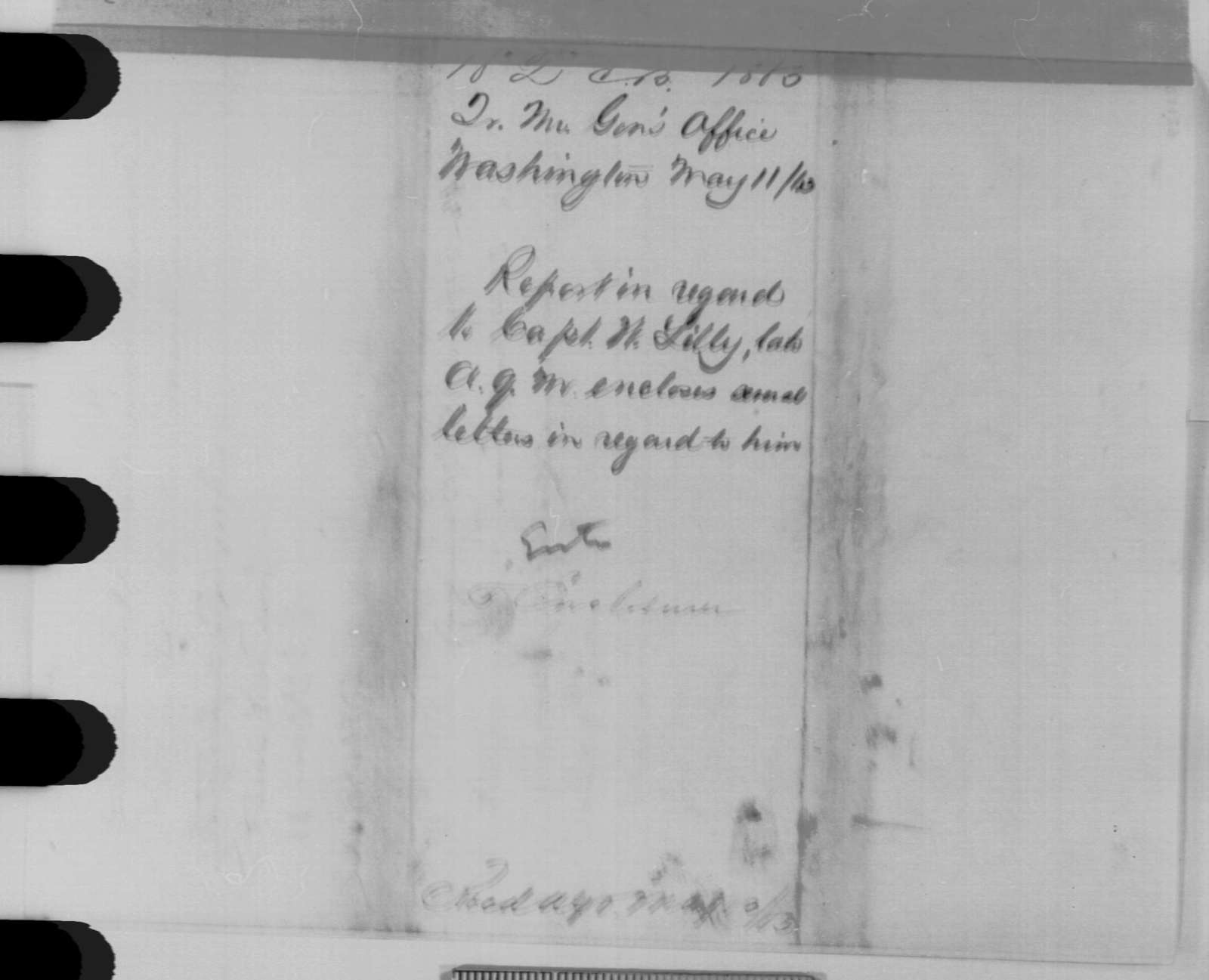 Montgomery C. Meigs to Edwin M. Stanton, Monday, May 11, 1863  (Case of William Lilley)