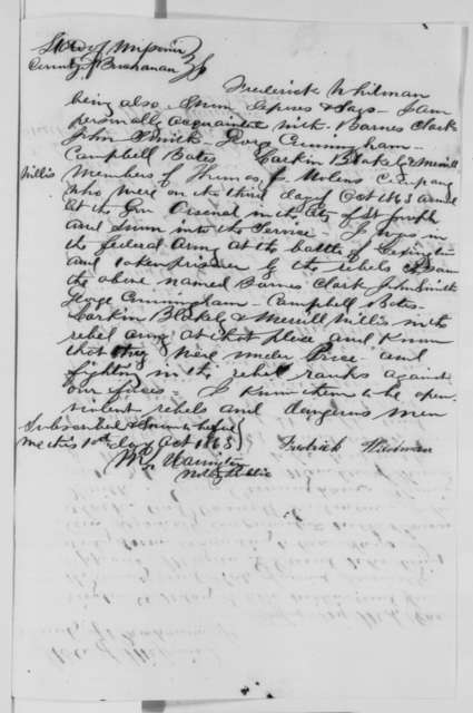 Morgan G. David, Frederick Wildman, and S. A. Woodward, Saturday, October 10, 1863  (Affidavits concerning military affairs in Missouri)