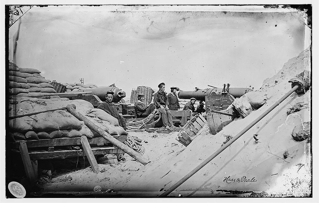[Morris Island, South Carolina. Naval Battery. Two 80-pounder Whitworths. Breaching battery against Fort Sumpter]