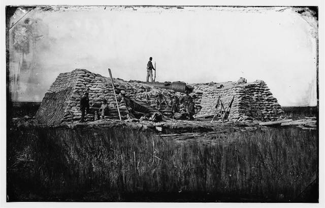 "[Morris Island (vicinity), South Carolina. The ""Marsh Battery"" or ""Swamp Angel"" after the explosion, August 22, 1863]"