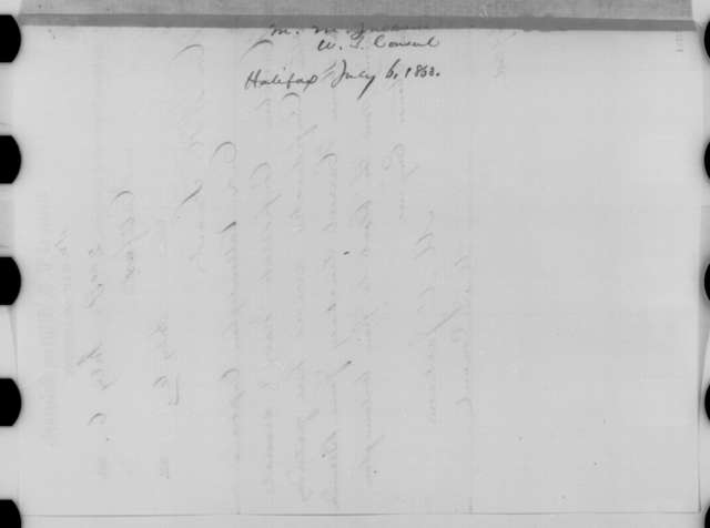 Mortimer M. Jackson to William H. Seward, Monday, July 06, 1863  (Telegram reporting arrival of Vallandigham at Nova Scotia)
