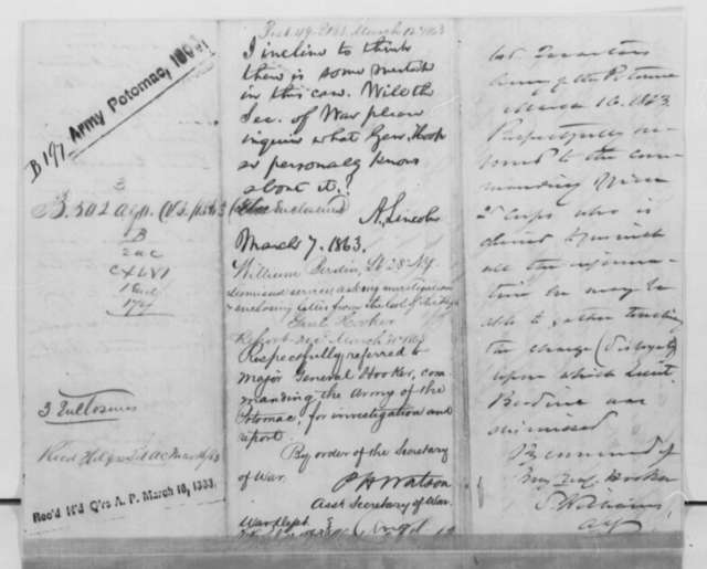 Moses N. Wisewell to Abraham Lincoln, Tuesday, March 03, 1863  (Writes on behalf of William Berdine; endorsed by Lincoln, March 7, 1863, by Peter H. Watson, S. Williams, and Joseph Hooker)
