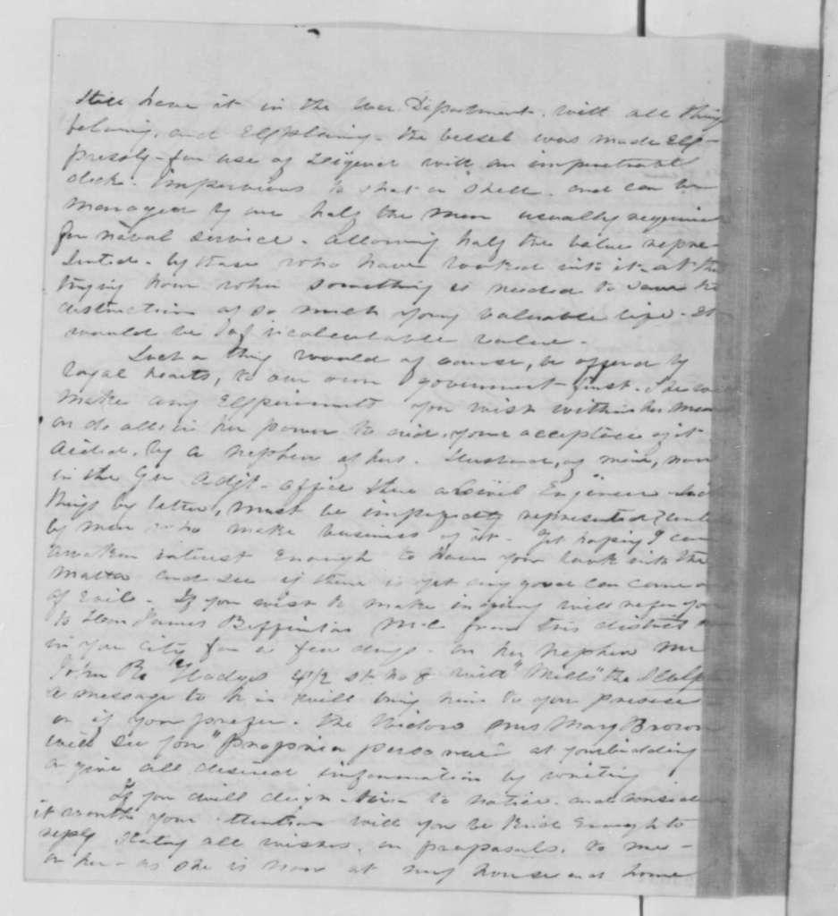 Mrs. John R. Hodges to Abraham Lincoln, Friday, April 17, 1863  (Greek liquid fire)