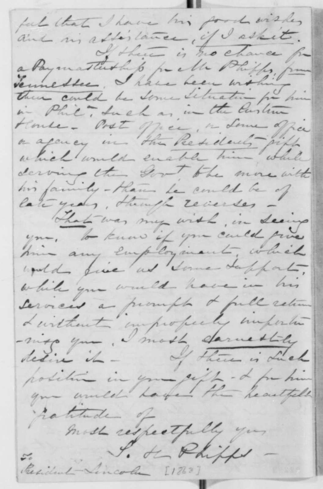 Mrs. L. H. Phipps to Abraham Lincoln, Sunday, March 08, 1863  (Seeks office for her husband)