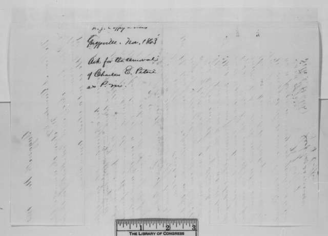 N. J. Coffey, et al. to William A. Grimshaw, November 1863  (Request removal of Charles Petrie as postmaster)