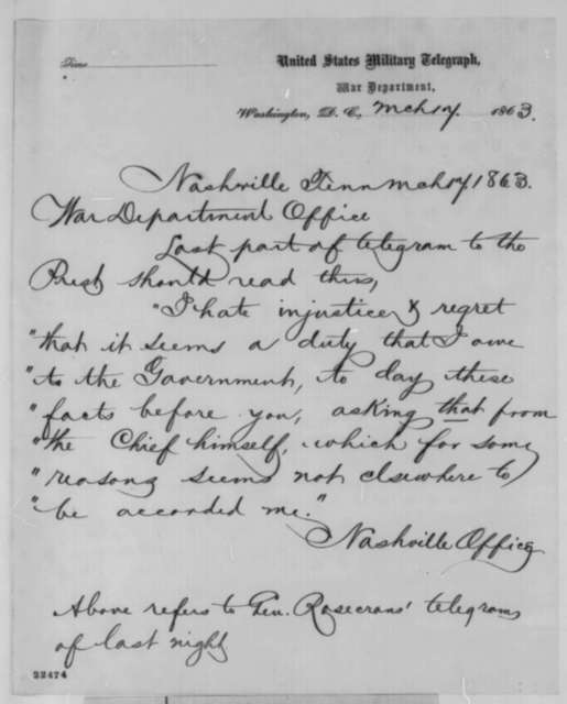Nashville, Tennessee Telegraph Office to War Department, Tuesday, March 17, 1863  (Telegram sending corrections to the telegram of General Rosecrans)