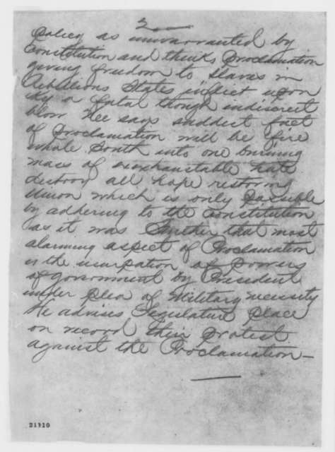 Nashville, Tennessee Telegraph to Lawrence A. Gobright, Friday, January 09, 1863  (Telegram reporting reaction to Emancipation Proclamation in Kentucky)