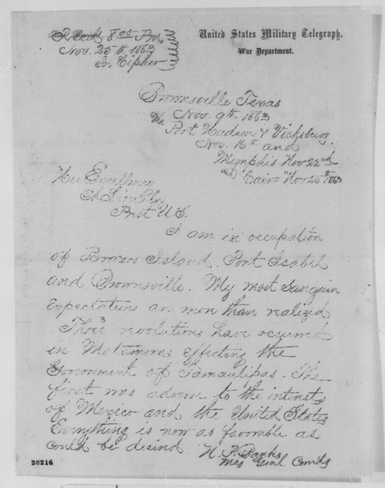 Nathaniel P. Banks to Abraham Lincoln, Monday, November 09, 1863  (Telegram reporting military situation in Texas)