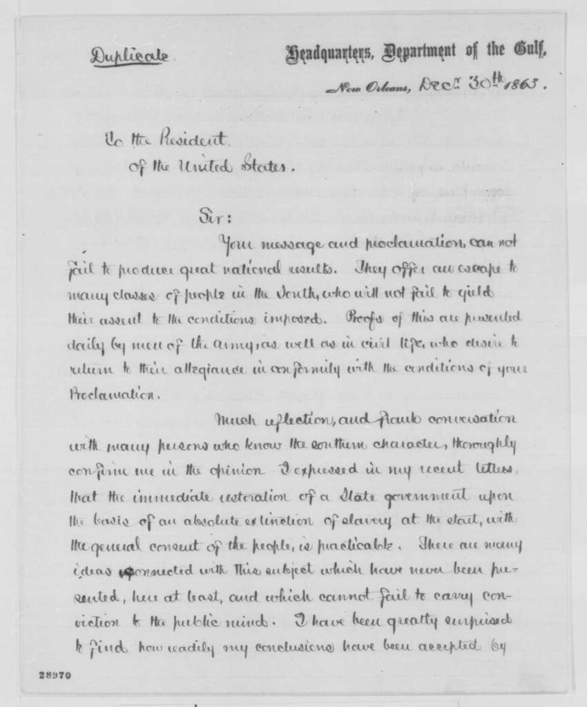Nathaniel P. Banks to Abraham Lincoln, Wednesday, December 30, 1863  (Affairs in Louisiana)