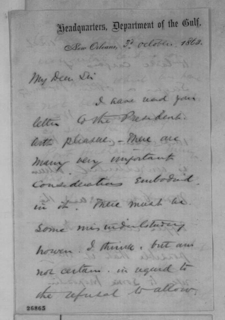 Nathaniel P. Banks to Francis P. Blair Jr., Saturday, October 03, 1863  (Commerce on the Mississippi)
