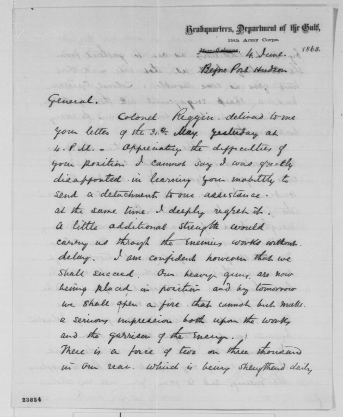 Nathaniel P. Banks to Ulysses S. Grant, Thursday, June 04, 1863  (Military affairs; endorsed by Grant)