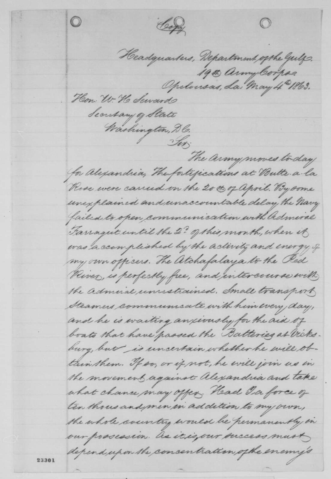 Nathaniel P. Banks to William H. Seward, Monday, May 04, 1863  (Cotton trade and affairs in Louisiana)