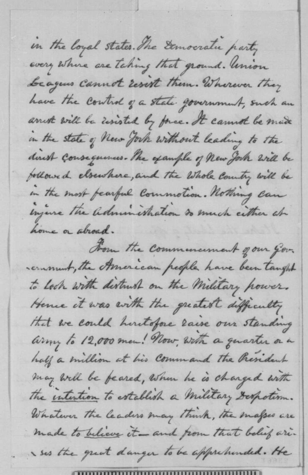 Nathaniel P. Tallmadge to William H. Seward, Sunday, May 24, 1863  (Arrest of Clement Vallandigham and its consequences)