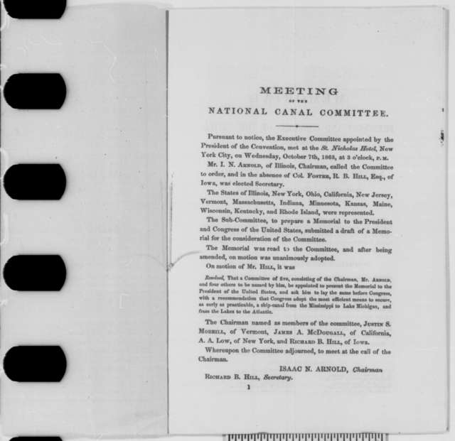 National Canal Convention to Abraham Lincoln, Tuesday, June 02, 1863  (Pamphlet)