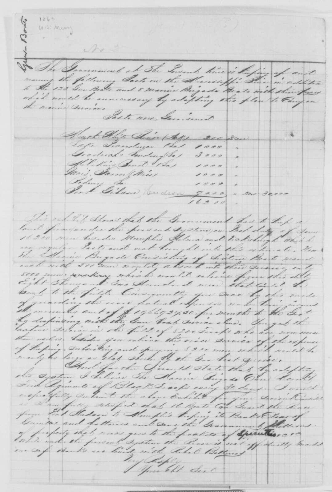 Navy Department,  1863  (Report on gunboats)