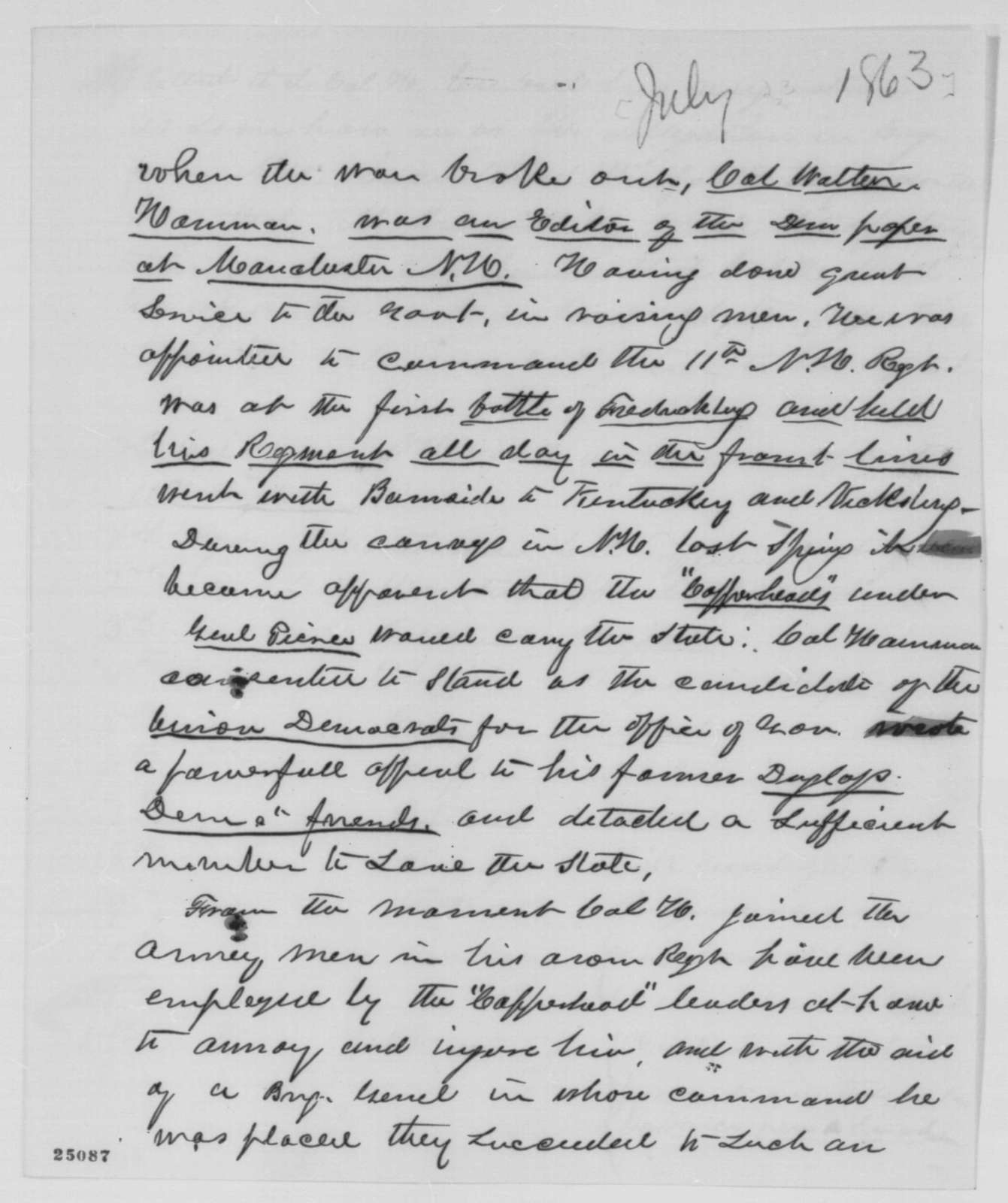 Nehemiah G. Ordway to Abraham Lincoln, [July 23, 1863]  (Statement on behalf of Walter Harriman)