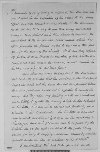 Nelson J. Waterbury to Horatio Seymour, Friday, August 07, 1863  (Report on conscription in New York)