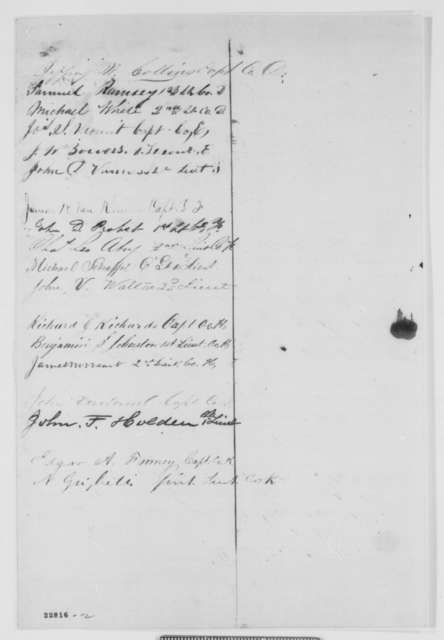 New Jersey 21st Regiment Officers to Abraham Lincoln, Saturday, April 04, 1863  (Petition on behalf of John Garretson)