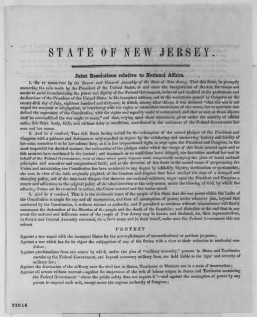 New Jersey Legislature, Tuesday, March 24, 1863  (Printed Resolutions)