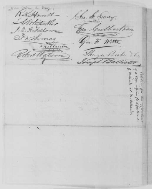 New Orleans Louisiana Citizens to Abraham Lincoln, Tuesday, February 24, 1863  (Request commission to adjust claims)