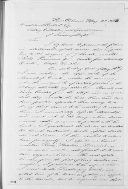 New Orleans Louisiana Customs, Wednesday, June 24, 1863  (Statement and Certificate)