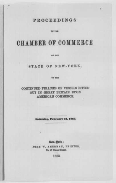 New York Chamber of Commerce, Saturday, February 21, 1863  (Pamphlet)