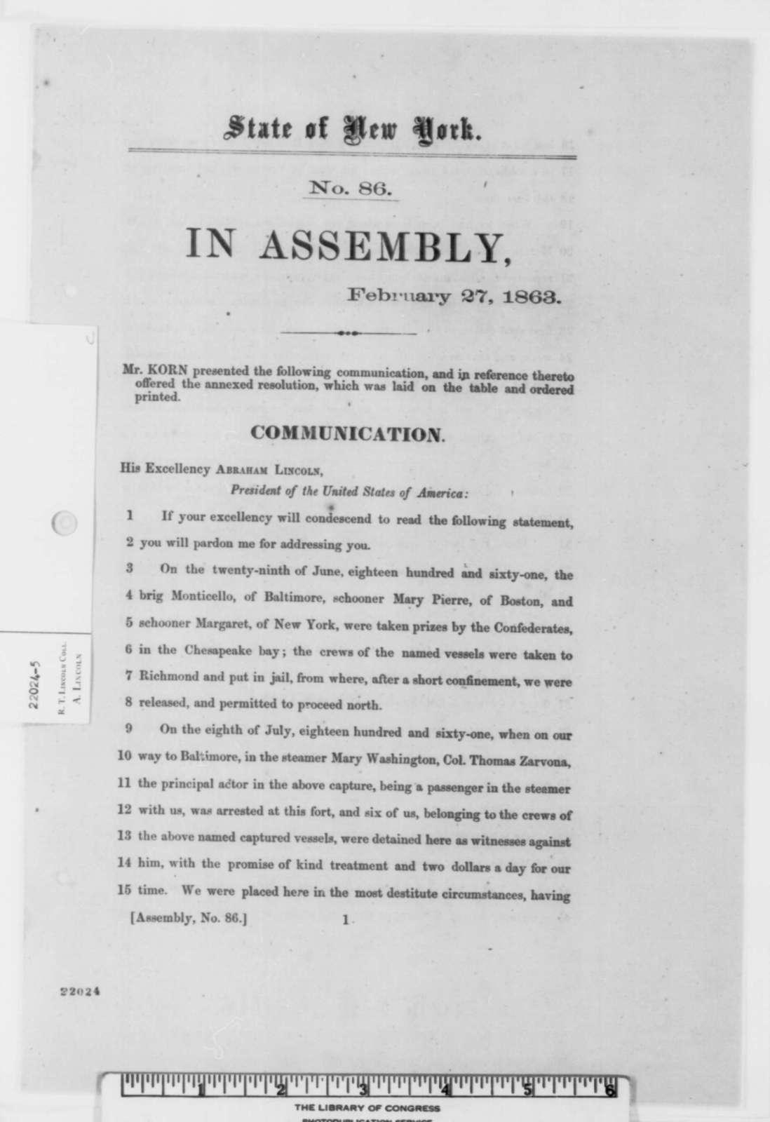 New York Legislature to Abraham Lincoln, Friday, February 27, 1863  (Printed Resolution)