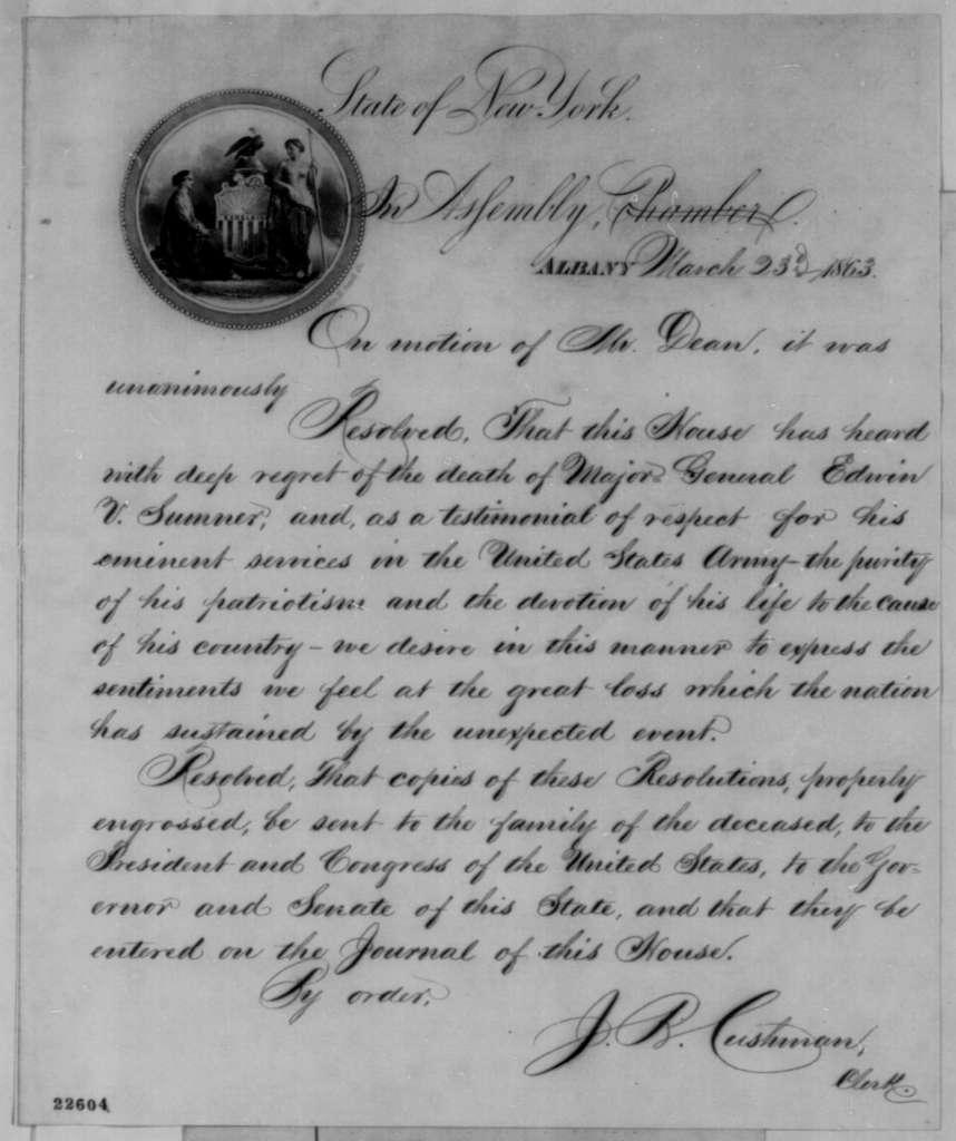 New York Legislature to Abraham Lincoln, Monday, March 23, 1863  (Resolution honoring General Edwin Sumner)