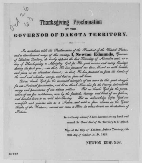Newton Edmunds, Monday, October 26, 1863  (Printed proclamation)