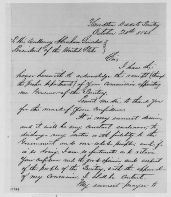 Newton Edmunds to Abraham Lincoln, Tuesday, October 20, 1863  (Appreciates appointment as governor of Dakota)