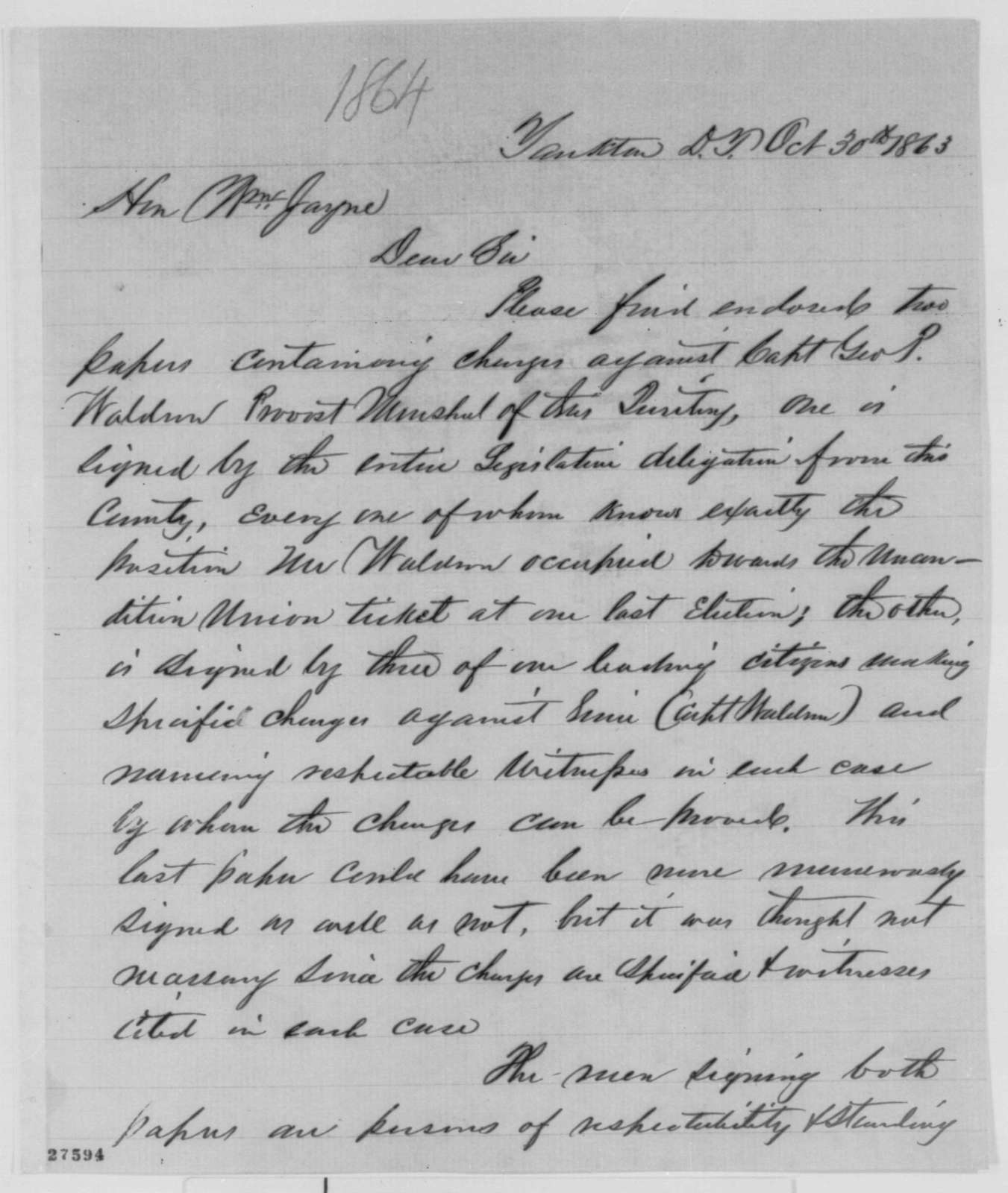 Newton Edmunds to William Jayne, Friday, October 30, 1863  (Removal of provost marshal in Dakota; endorsed by Jayne)