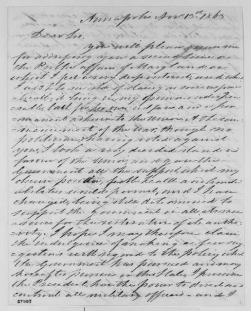 Nicholas Brewer to Abraham Lincoln, Friday, November 13, 1863  (Affairs in Maryland)