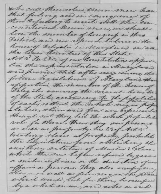 Nicholas Brewer to Abraham Lincoln, Saturday, October 31, 1863  (Political affairs in Maryland)