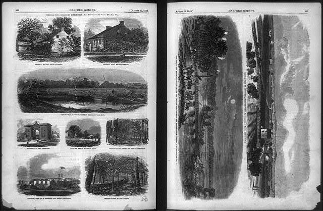 [Nine views of the Gettysburg battlefield from photographs by Mathew Brady and Army of the Potomac's Twelfth Corps crossing the Rappahannock River in pursuit of Robert E. Lee from a sketch by an officer]