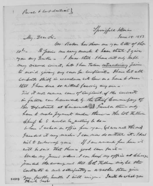 Ninian W. Edwards to Abraham Lincoln, Thursday, June 18, 1863  (Conduct as commissary of subsistence)