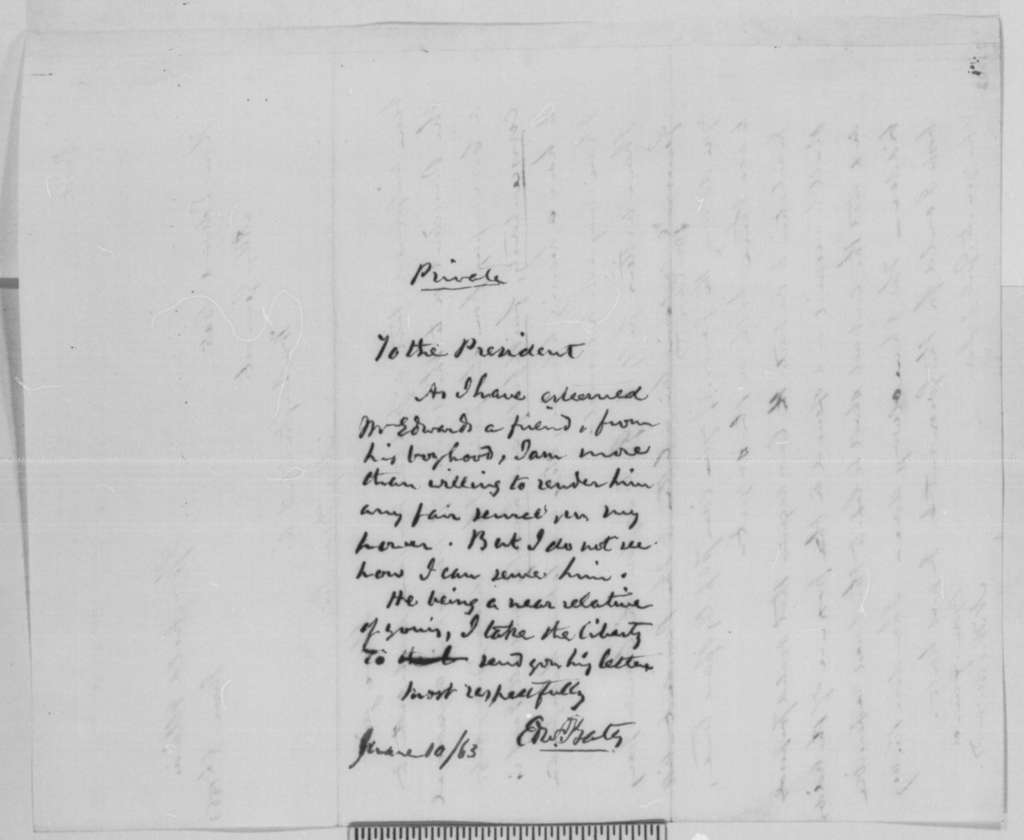 Ninian W. Edwards to Edward Bates, Saturday, June 06, 1863  (Defends his conduct as commissary; endorsed by Bates to Lincoln)