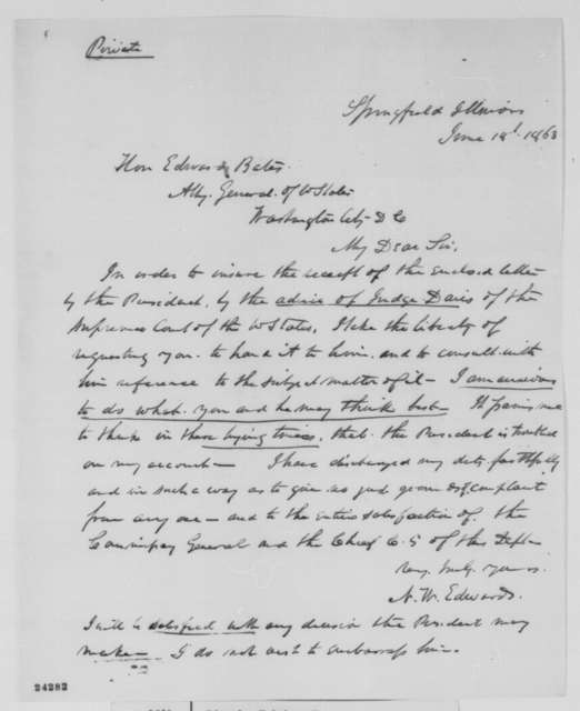 Ninian W. Edwards to Edward Bates, Thursday, June 18, 1863  (Conduct as a commissary of subsistence)