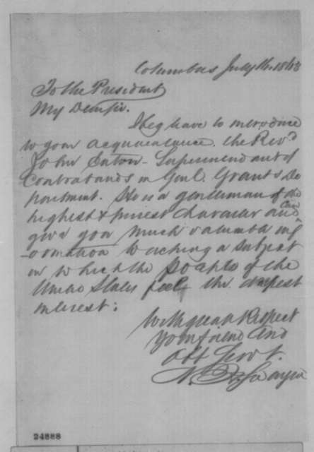 Noah H. Swayne to Abraham Lincoln, Thursday, July 16, 1863  (Introduces John Eaton)