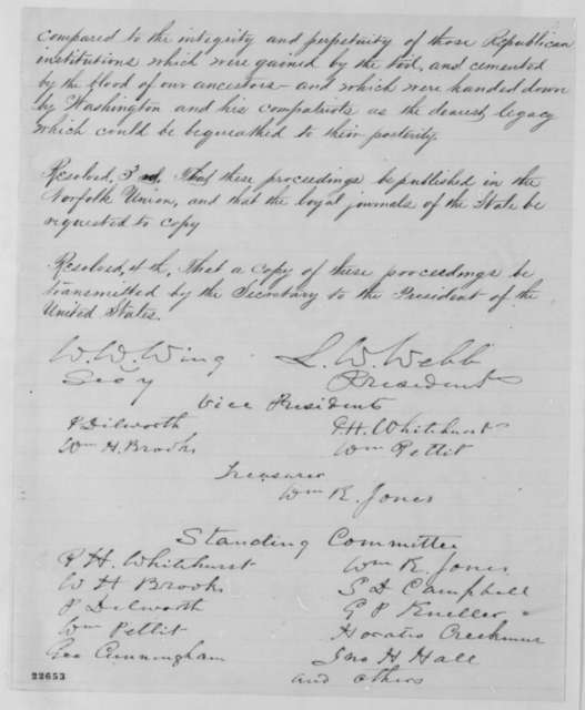 Norfolk Virginia Union Association to Abraham Lincoln, Thursday, March 26, 1863  (Resolutions)