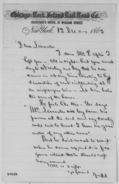 """Norman B. Judd to Abraham Lincoln, Saturday, December 12, 1863  (Meeting with """"Mr. P."""")"""