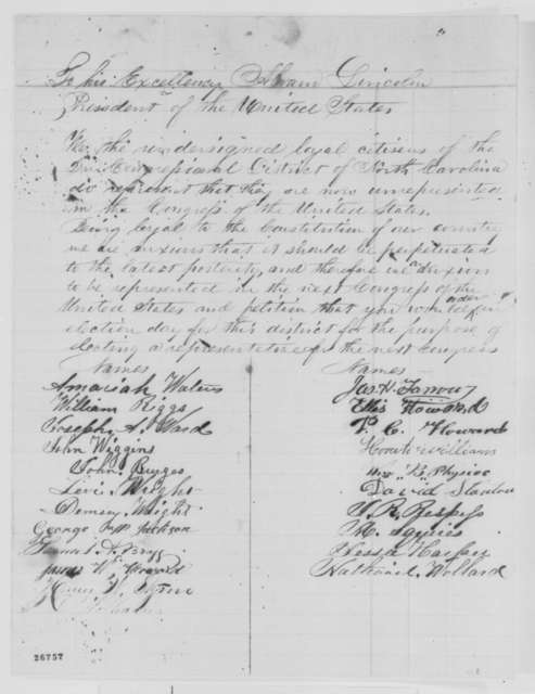 North Carolina Citizens of 2nd Congressional District to Abraham Lincoln, September 1863  (Petition requesting representation in Congress)