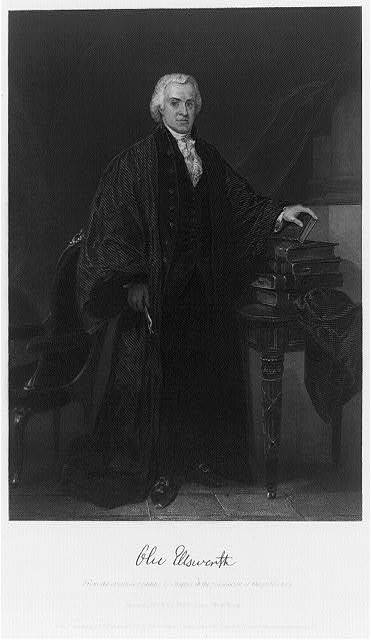 [Oliver Ellsworth, full-length portrait, standing, facing right, left hand on stack of books]