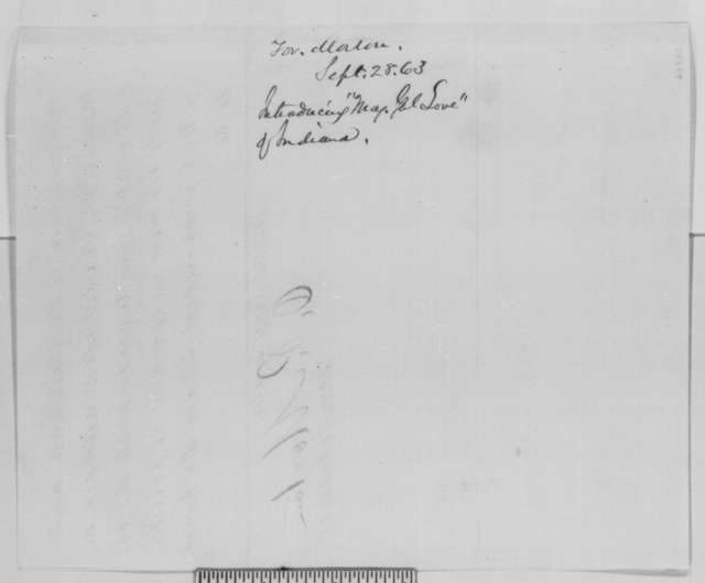Oliver P. Morton to Abraham Lincoln, Monday, September 28, 1863  (Introduces John Love)