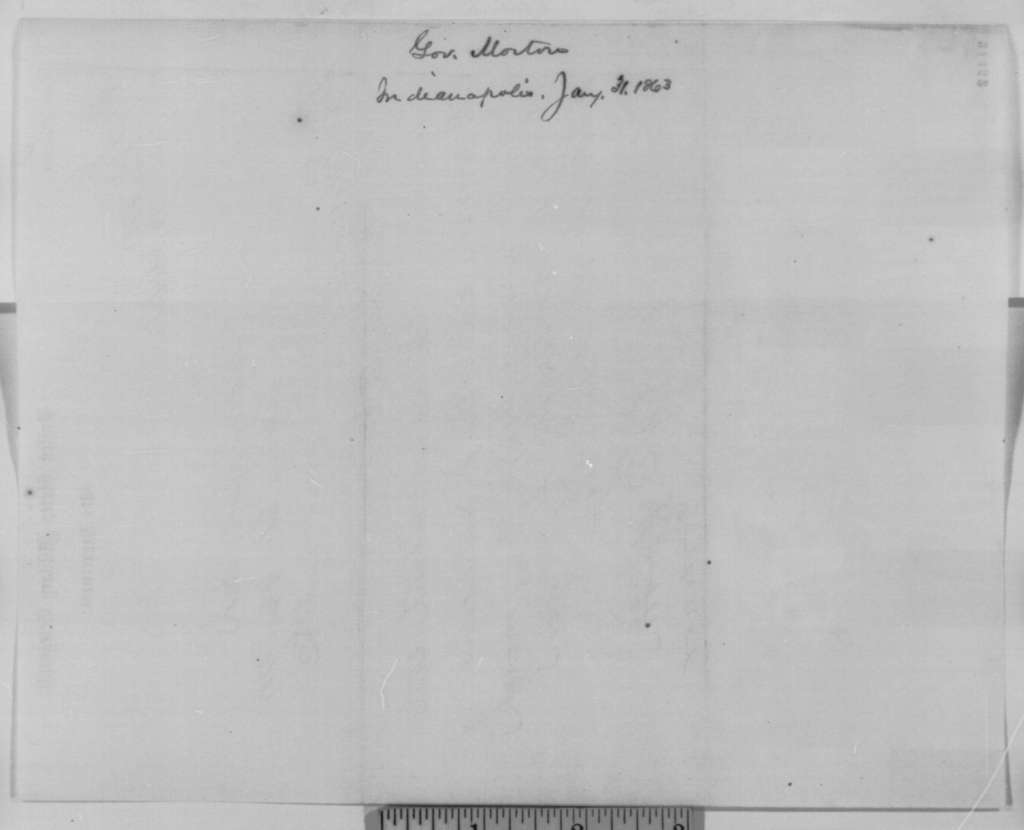 Oliver P. Morton to Abraham Lincoln, Saturday, January 31, 1863  (Telegram requesting Lincoln to meet him at Harrisburg)