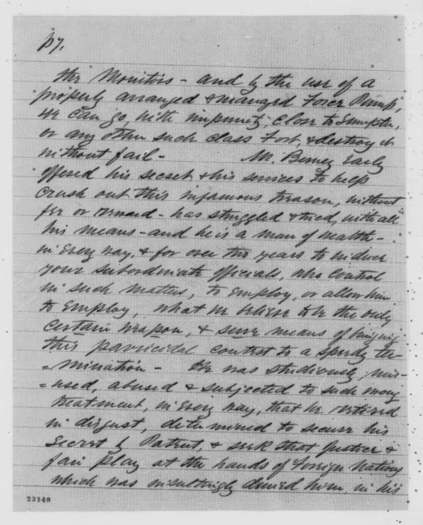 Oliver S. Halsted, Jr. to Abraham Lincoln, Saturday, April 25, 1863  (Military ordnance and Berney's liquid fire)