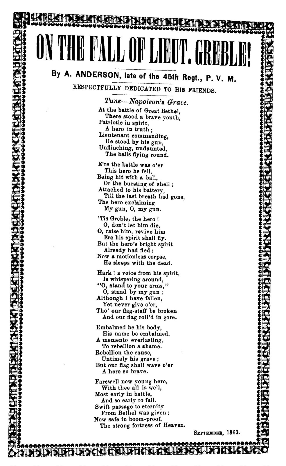 On the fall of Lieut. Gremble! By A. Anderson. Tune - Napoleon's grave. Sept. 1863