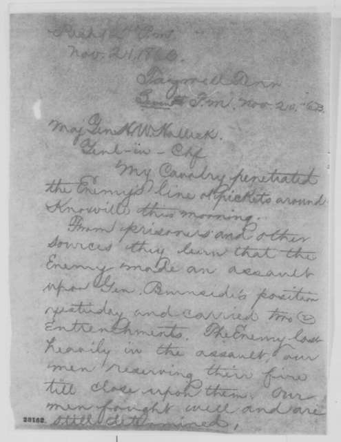 Orlando B. Willcox to Henry W. Halleck, Friday, November 20, 1863  (Telegram concerning military affairs in Tennessee)