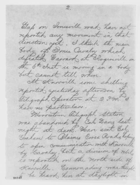 Orlando B. Willcox to Henry W. Halleck, Friday, November 20, 1863  (Telegram reporting military situation in Tennessee)