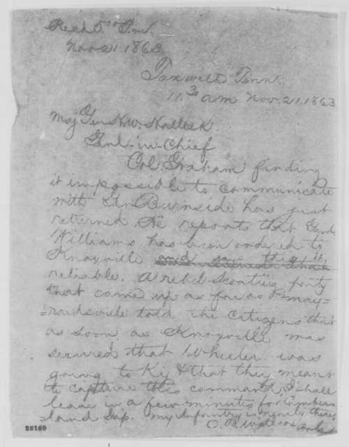 Orlando B. Willcox to Henry W. Halleck, Saturday, November 21, 1863  (Telegram concerning military affairs in Tennessee)