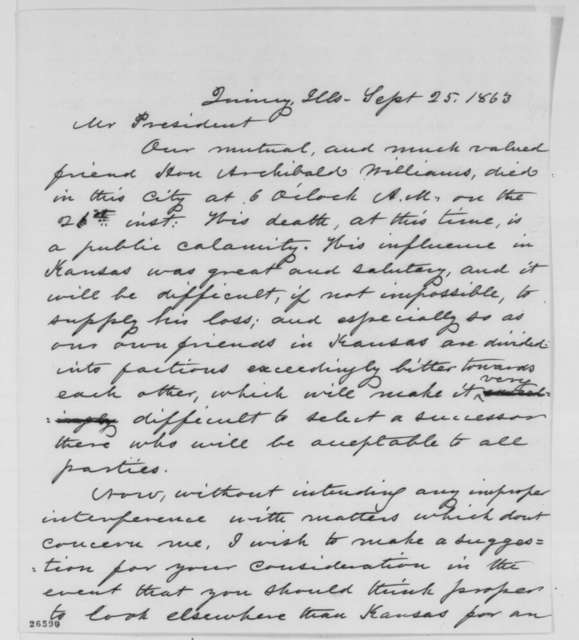 Orville H. Browning to Abraham Lincoln, Friday, September 25, 1863  (Death of Archibald Williams)